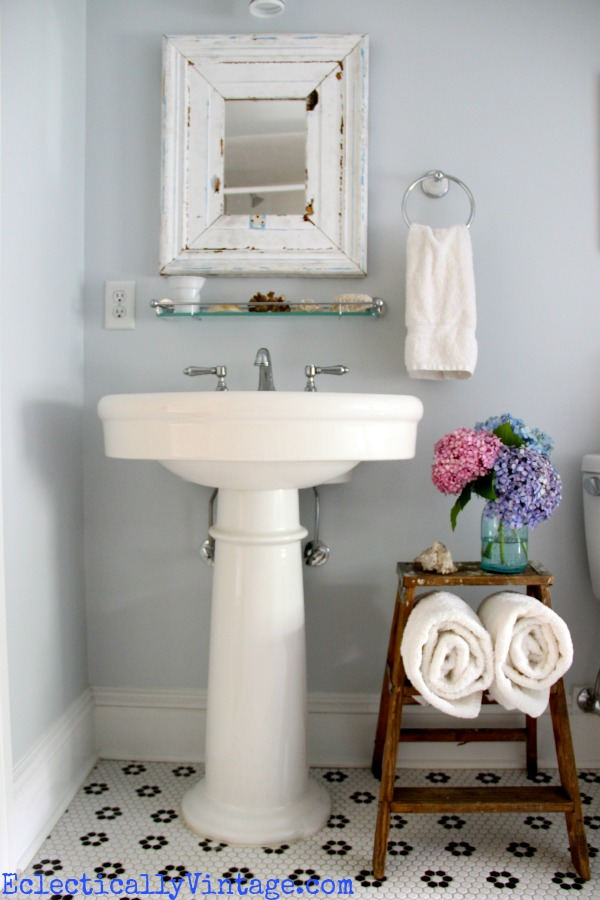 Bathroom Storage Ideas - love this old ladder towel holder!  kellyelko.com