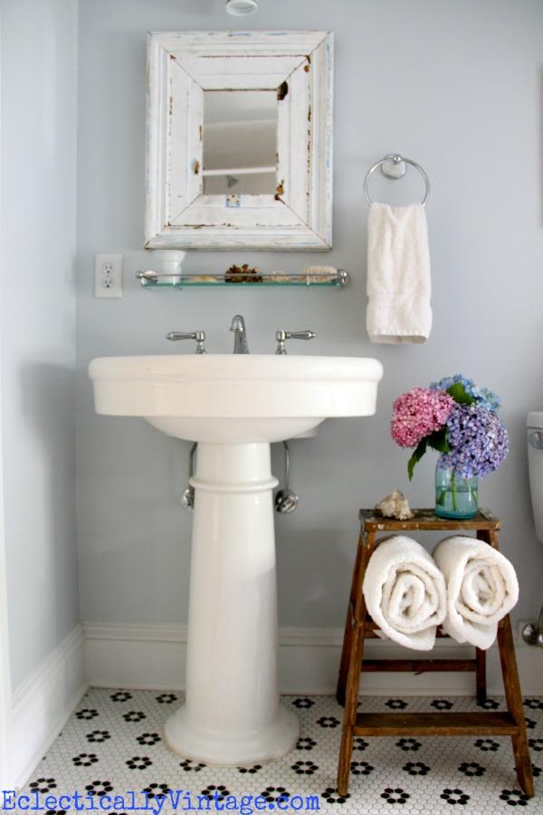 bathroom storage ideas love this old ladder towel holder
