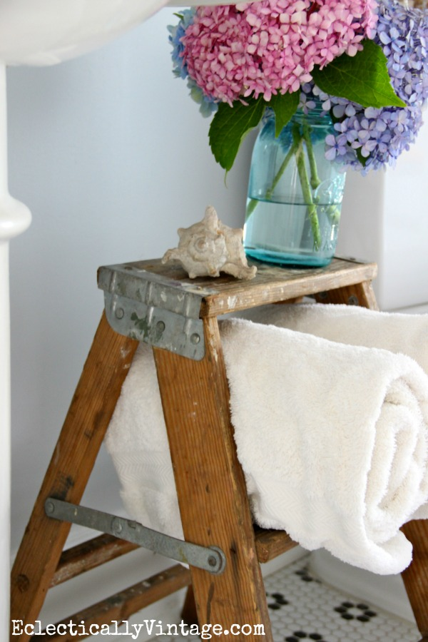 Stepladder bathroom storage - the bathroom is gorgeous!  kellyelko.com