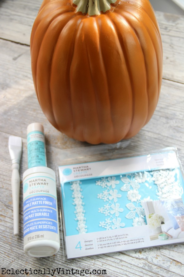 Lace Pumpkin Decoupage Supplies - you've got to see how cute this is!  #12monthsofmartha #marthastewartcrafts eclecticallyvintage.com