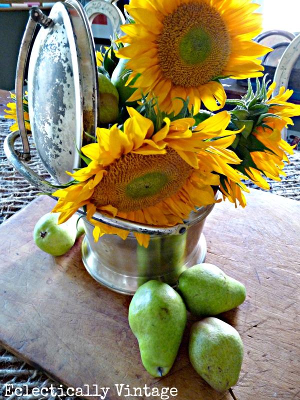 Think outside the vase - ideas to make any bouquet happy (like this old ice bucket)!  eclecticallyvintage.com