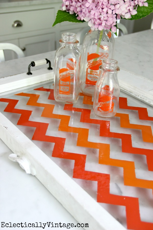 How to Make a Chevron Tray from an old window or piece of glass - the easy way (no special stencils needed)!  kellyelko.com