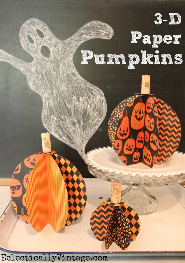 3D Paper Pumpkin Tutorial - so quick and easy to make! kellyelko.com