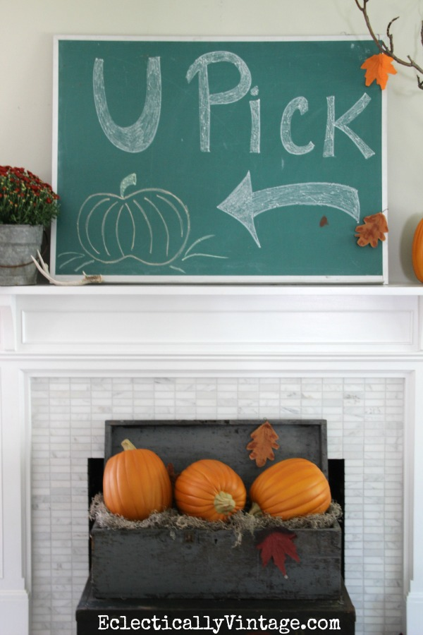 Vintage chalkboard mantel - so cute!  eclecticallyvintage.com