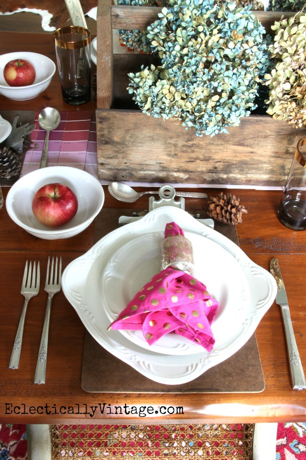 Colorful Tablescape for Fall - love the eclectic look kellyelko.com
