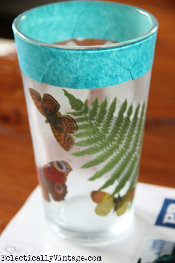 Decoupage on Glass DIY- this makes it waterproof and dishwasher safe!  kellyelko.com