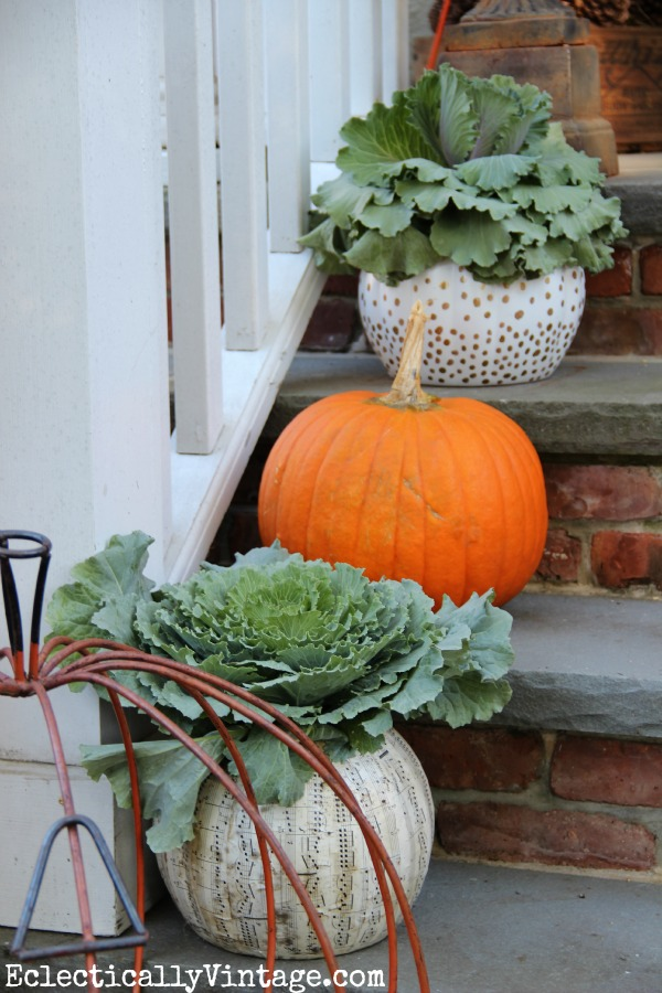 Fall Porch Decorating Ideas - love the eclectic look kellyelko.com