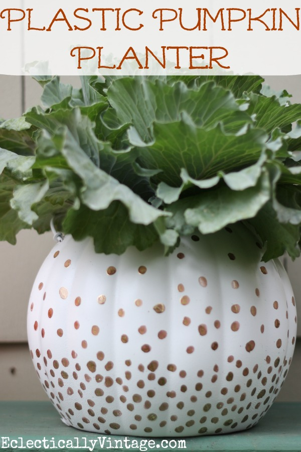 Plastic Pumpkin Planter for Fall - two unique ideas to transform them.  kellyelko.com