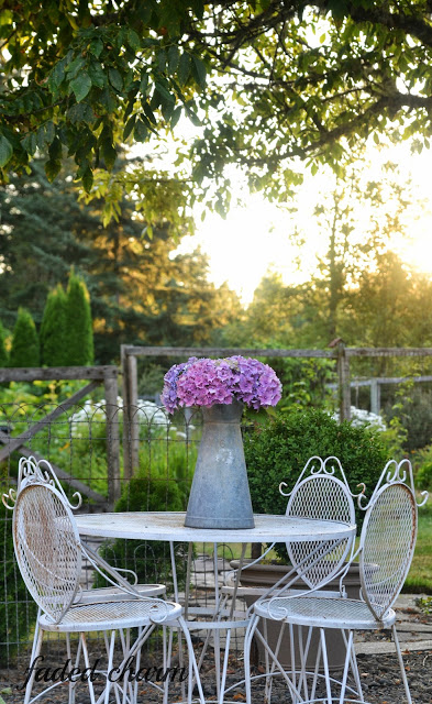 Sunset in a cottage garden