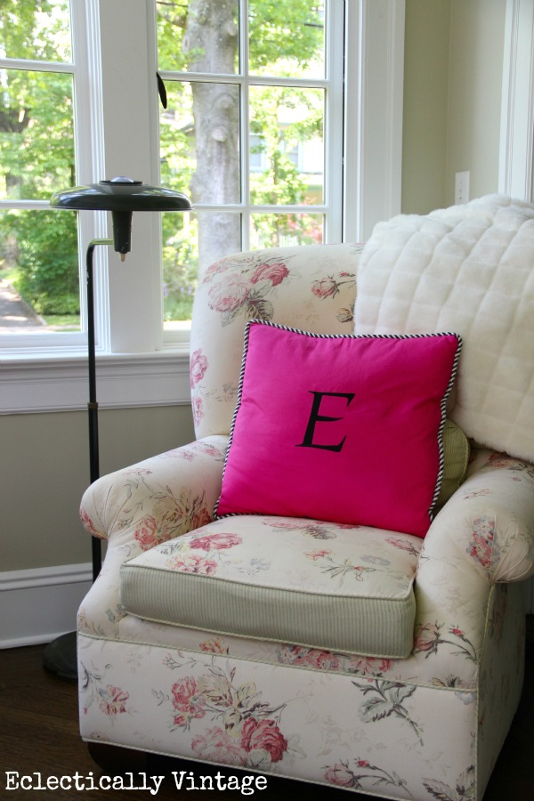 Nook in a colorful sunroom - love this!  kellyelko.com