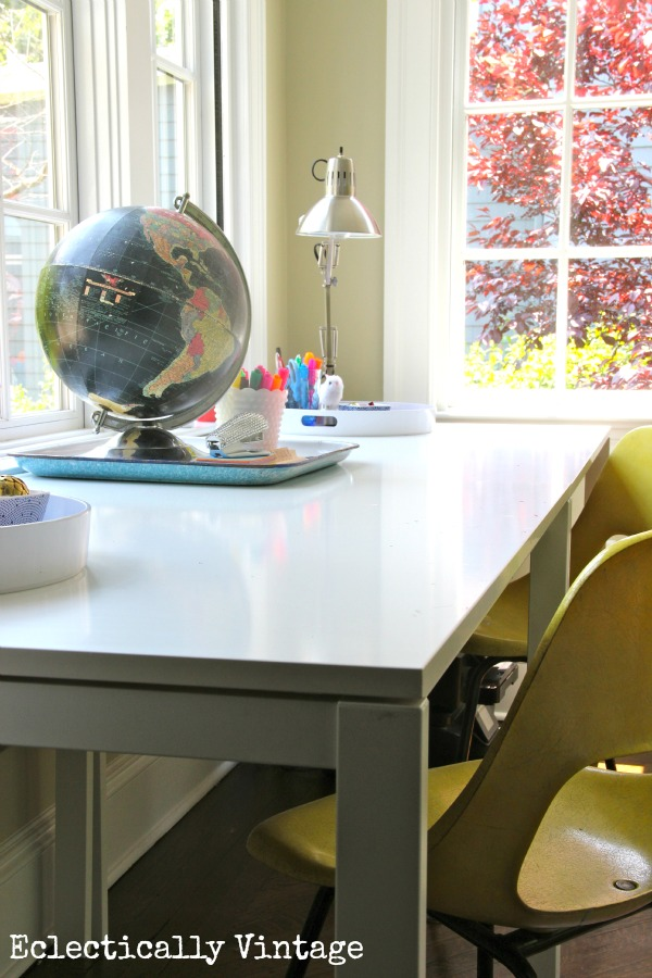 Fabulous desk idea - dining tables!  See more in this office/sunroom.  eclecticallyvintage.com