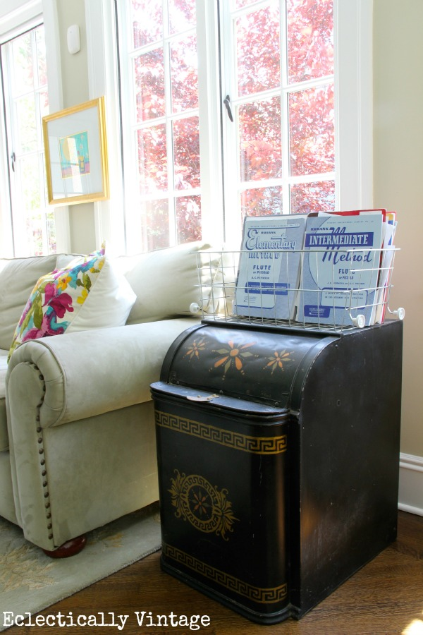 Vintage pieces (like this old coal bin) mixed into a fabulous sunroom.  kellyelko.com