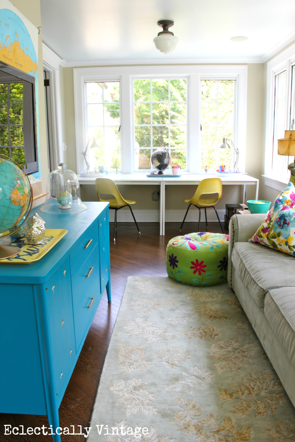 Sunny sunroom - love the colors, layout and vintage pieces!  kellyelko.com