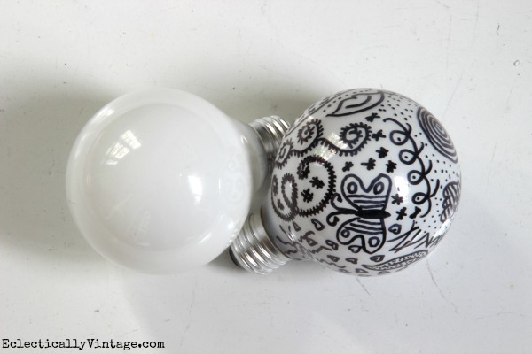 Lightbulb Doodles - from boring to pop art! (click to see how cool they look in a light fixture) kellyelko.com