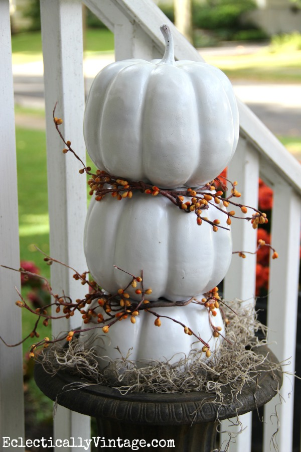 Make a #pumpkin topiary and see the rest of this #fall porch eclecticallyvintage.com