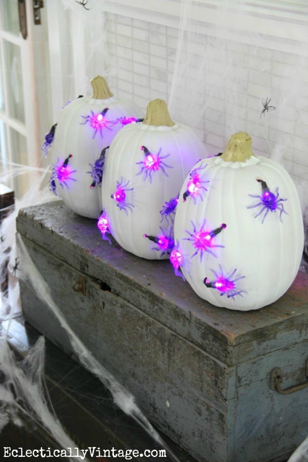 #Halloween DIY #Pumpkin Lights - see how to make these unique pumpkins!  kellyelko.com