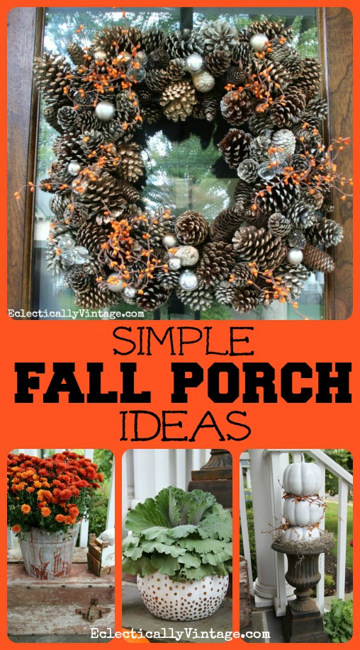 Fall porch decorating ideas for Pictures of fall decorations for outdoors