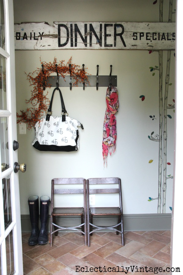 Fun mudroom and sign - part of a Fall home tour at kellyelko.com