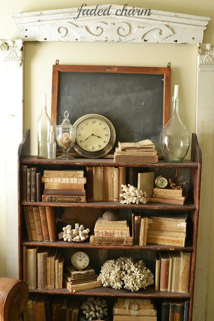 Vintage filled bookcase - take the cottage tour
