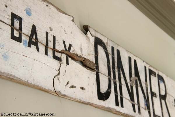 Vintage wood sign - looks great in this mudroom!  eclecticallyvintage.com