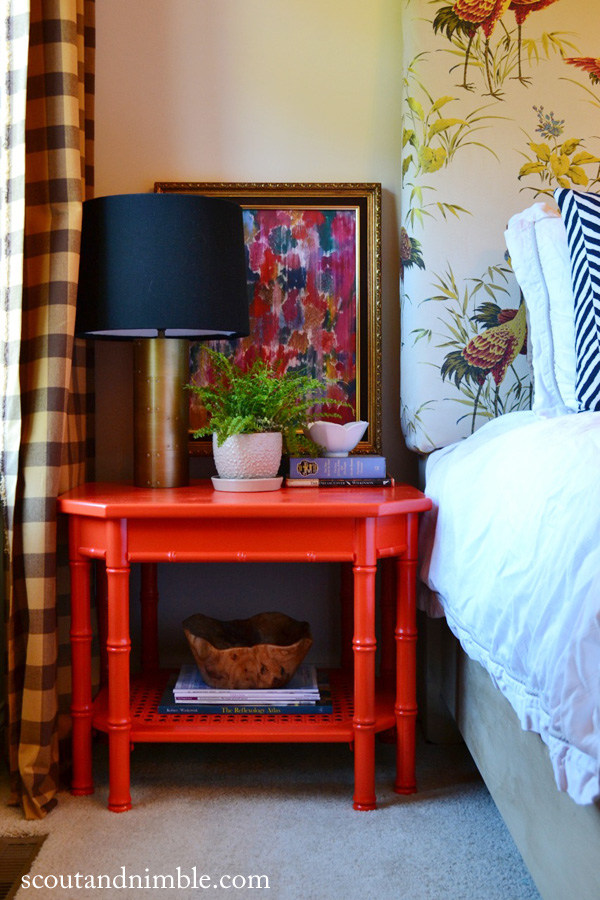 Fun bedside table - love this entire bedroom!  eclecticallyvintage.com