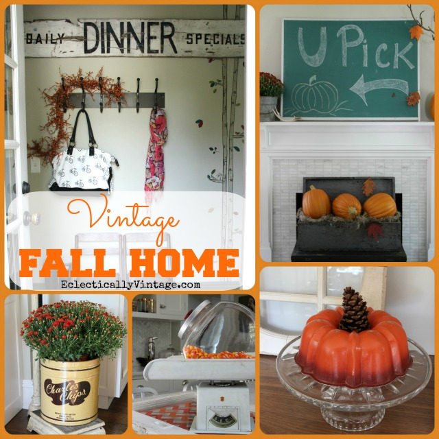 Vintage Fall Home Tour - creative fall decorating ideas!  kellyelko.com