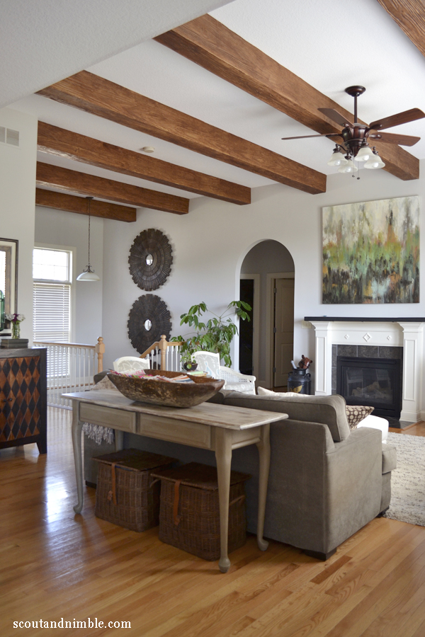 House Tour at Scout and Nimble - love the colorful decor and those gorgeous wood beams eclecticallyvintage.com