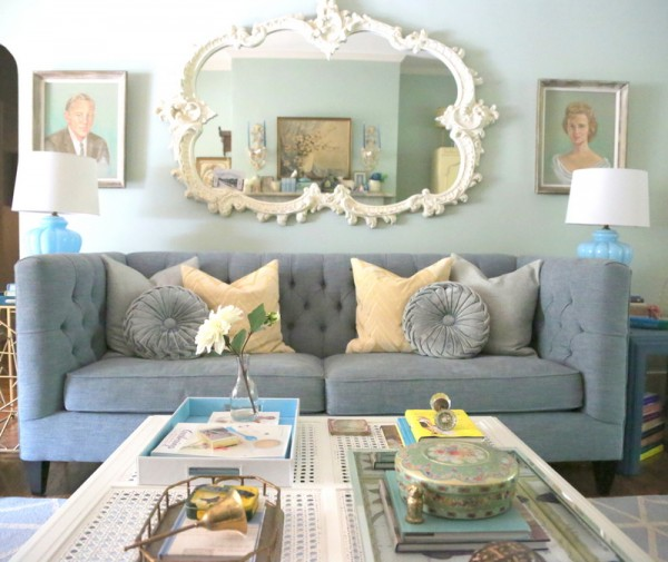 The Decorologist Living Room - love the eclectic mix of furniture and accessories! kellyelko.com