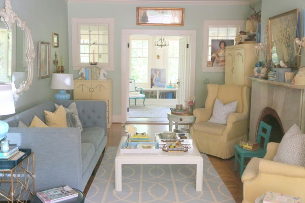 Tranquil living room - love the mix of furniture and color! kellyelko.com
