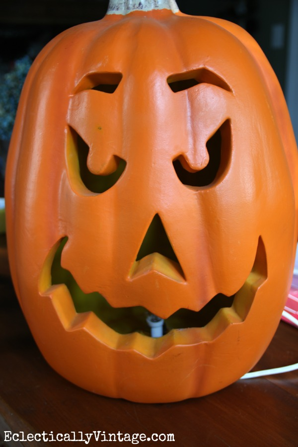 Before Plain Old Jack O'Lantern - click to see the amazing after!  eclecticallyvintage.com
