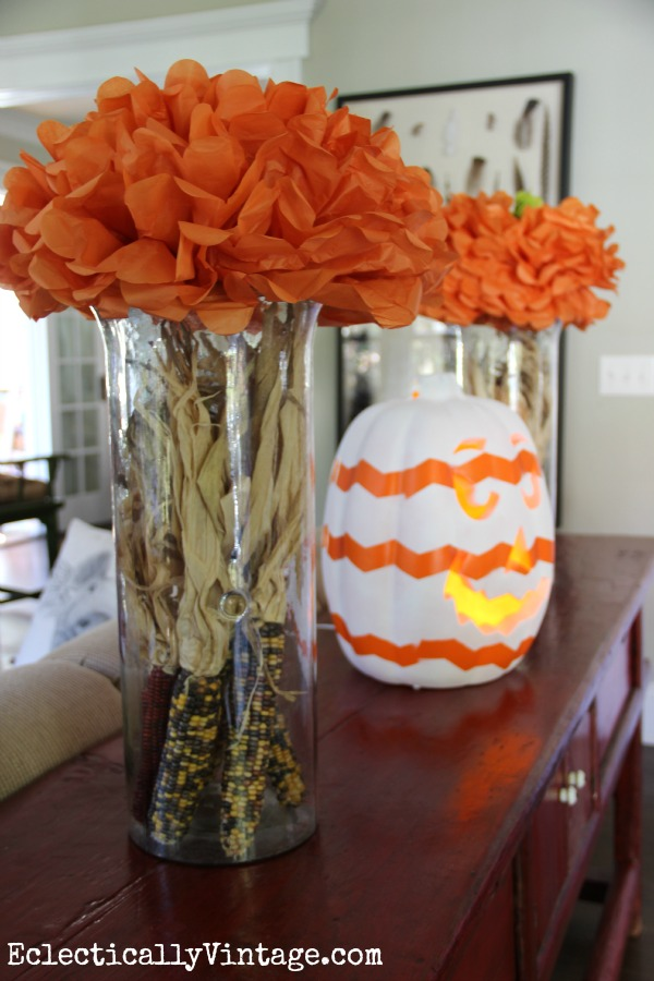 Tissue paper pumpkins and a chevron jack o lantern eclecticallyvintage.com