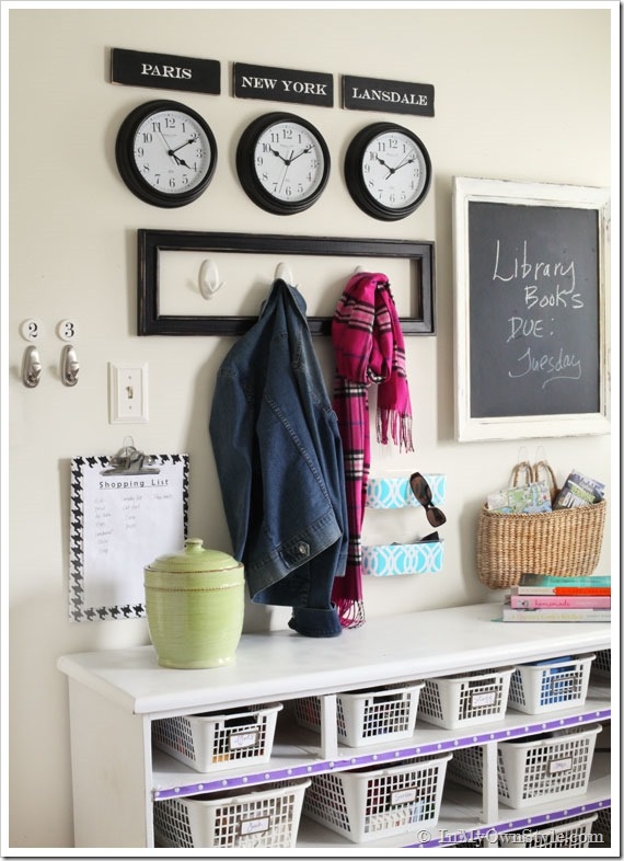 Mudroom makeover - love the storage