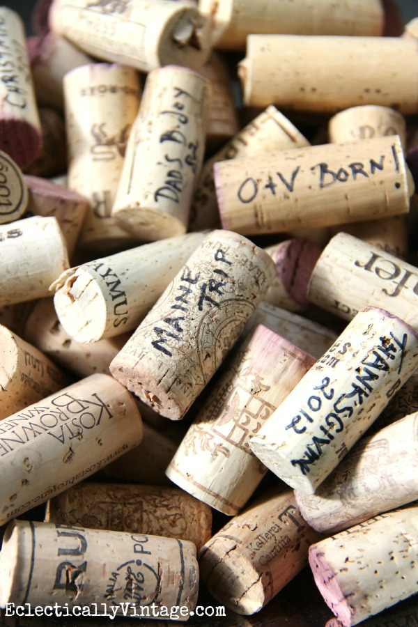 Write Date & Occasion on Corks - instant memories!  eclecticallyvintage.com