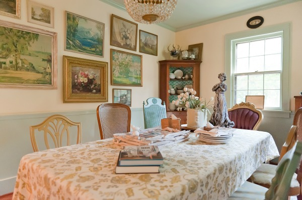 The Decorologist Dining Room - love the mis matched chairs and vintage landscape wall.  kellyelko.com