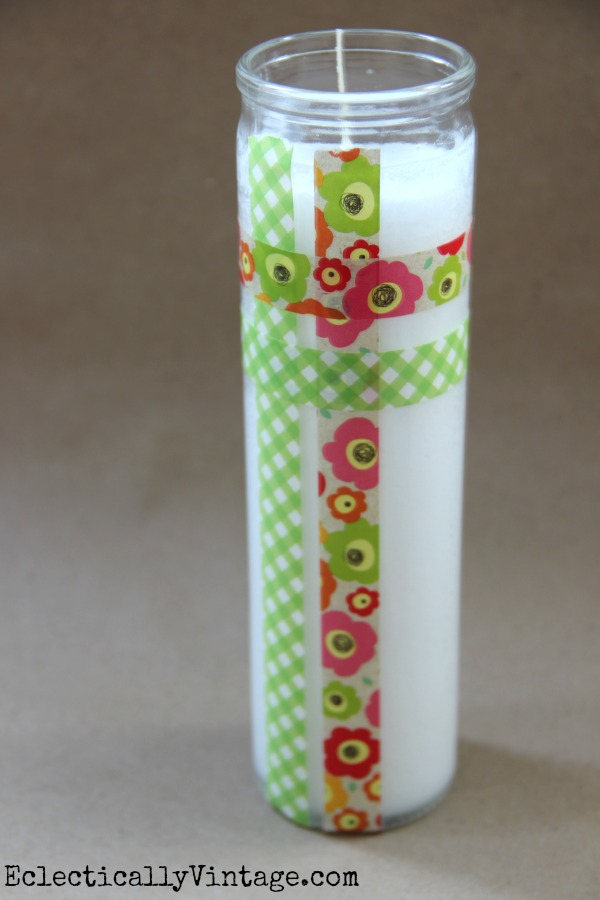 Washi Tape is perfect for dressing up plain candles!  One of 5 fun decorative tape ideas at kellyelko.com
