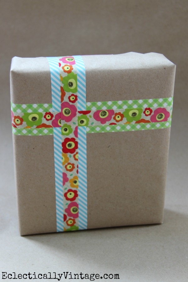 Washi Tape is perfect gift wrapping!  One of 5 fun decorative tape ideas at kellyelko.com