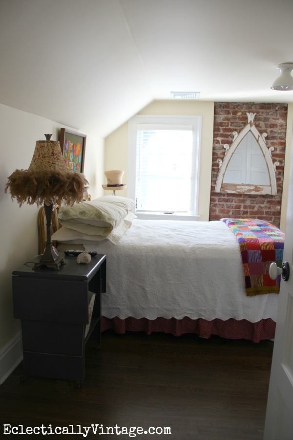 Guest Room - love the exposed brick kellyelko.com