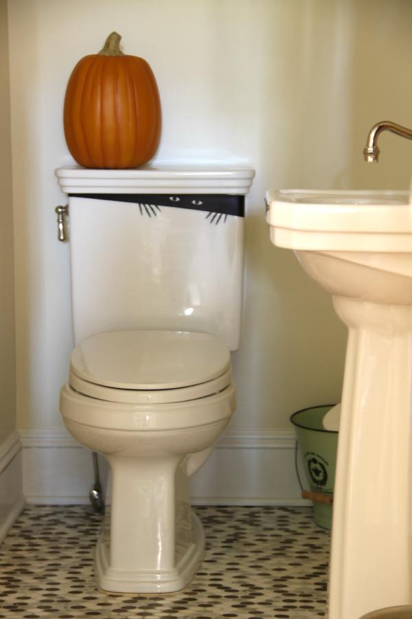 Halloween toilet monster decal - surprise your guests!  kellyelko.com