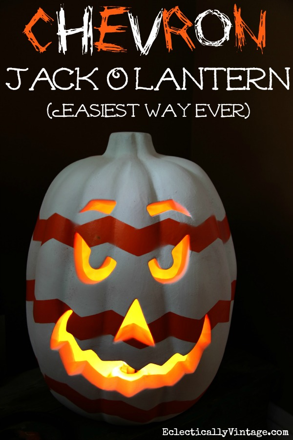 Chevron Pumpkin Jack O'Lantern - learn the easiest way ever to create a chevron pattern!  kellyelko.com
