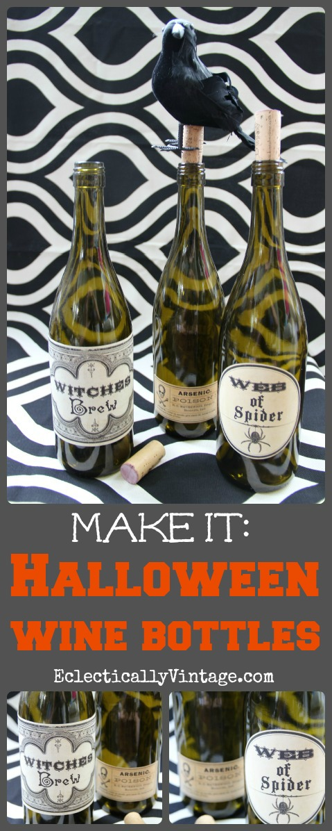 #Halloween Crafts - Poison Wine Bottles with FREE #Printable kellyelko.com