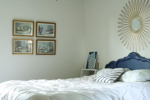 Vintage guest bedroom - love the painted headboard