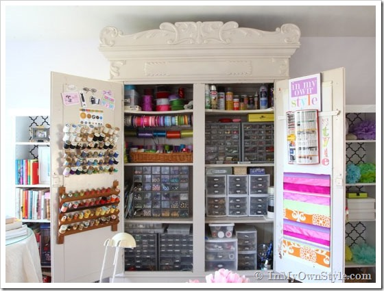 Craft Armoire - perfect organization for a small space!