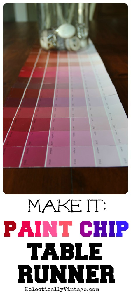 How to Make a #Paint Chip Table Runner eclecticallyvintage.com
