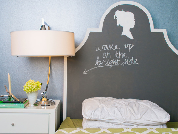 Chalkboard Headboard - one of 12 unique chalkboard ideas kellyelko.com