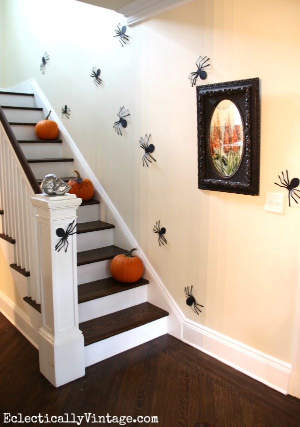 Spider Staircase Wall - part of this fun Halloween house tour eclecticallyvintage.com
