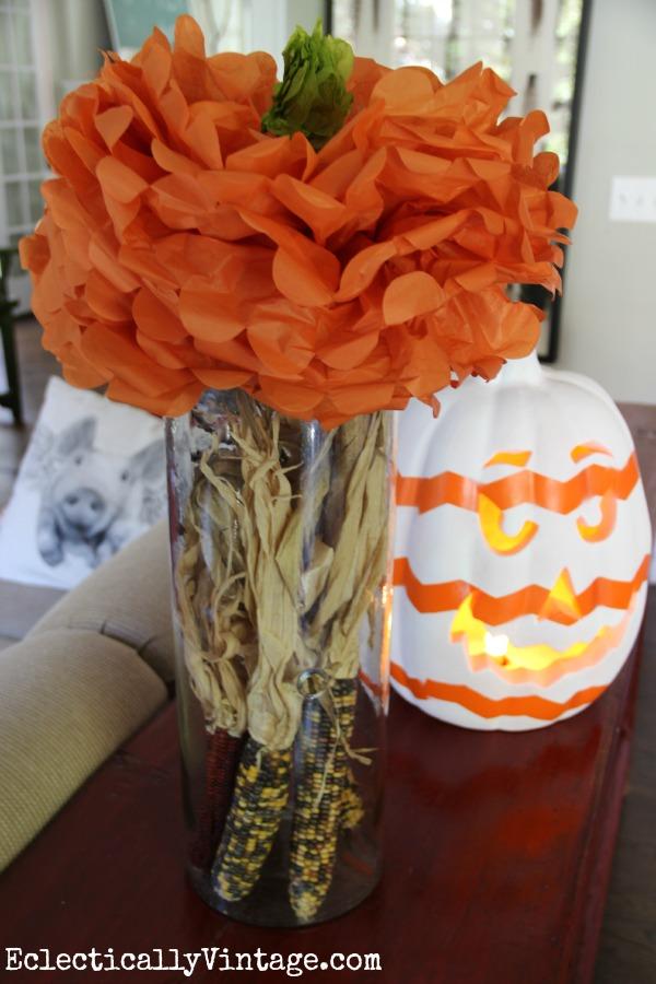 Tissue paper pumpkins are so cute!  kellyelko.com