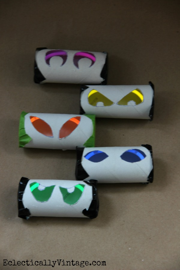 Toilet Paper Glow Stick Eyes - see how to make them at kellyelko.com