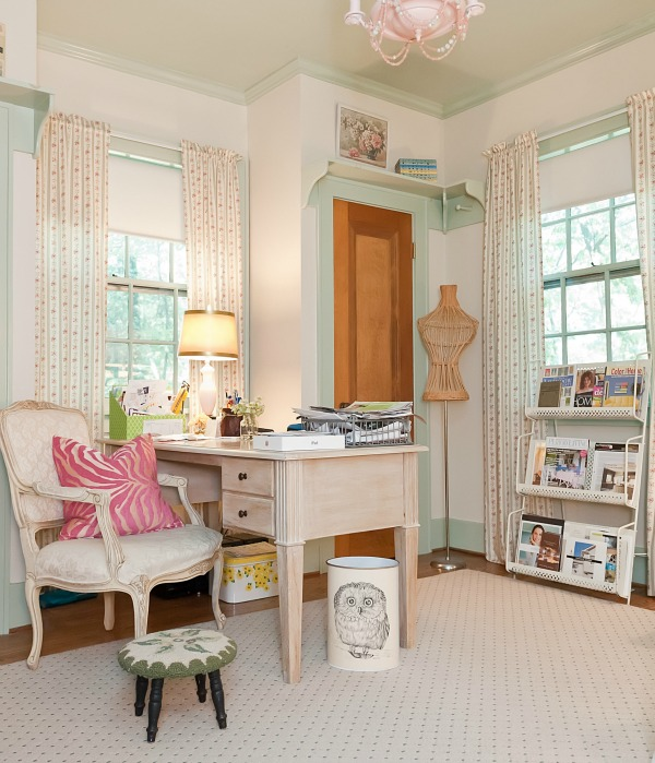 Vintage office - part of a colorful house tour.  kellyelko.com