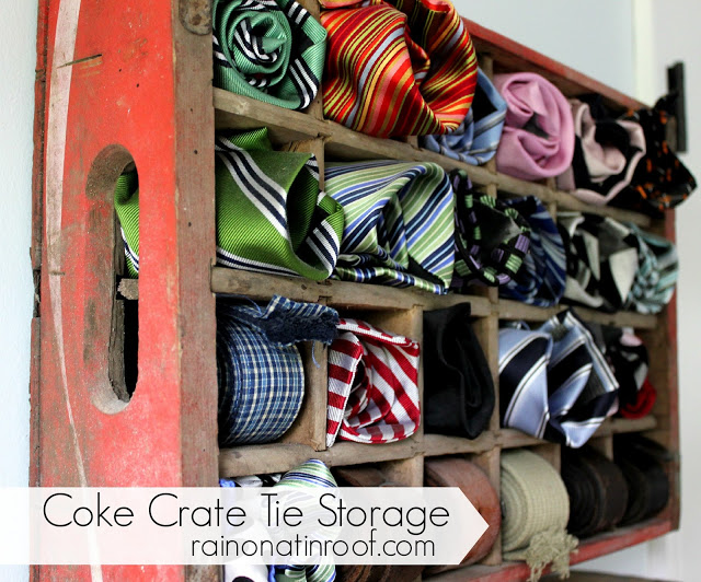 Great idea for an old crate - tie storage!  kellyelko.com