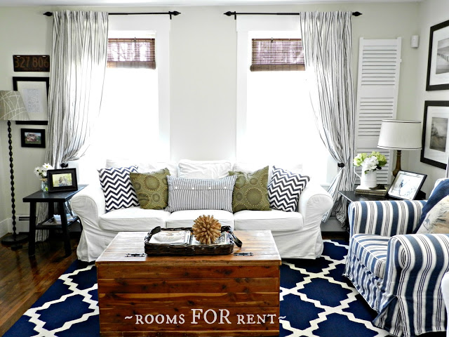 Nautical family room - great mix of patterns